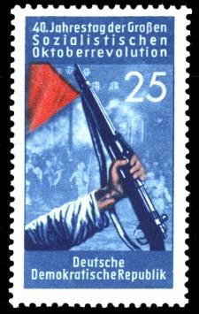25 Pf Briefmarke: 40. Jahrestag der Großen Sozialistischen Oktoberrevolution