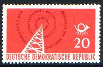 20 Pf Briefmarke: Konferenz der Minister des Post und Fernmeldewesens