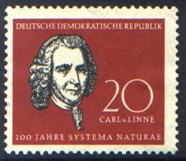 20 Pf Briefmarke: Naturwissenschaftler Charles Darwin und Carl v. Linné