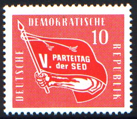 10 Pf Briefmarke: V. Parteitag der SED