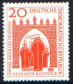 20 Pf Briefmarke: Seehafen Rostock
