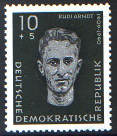 10 + 5 Pf Briefmarke: Antifaschisten, Rudi Arndt