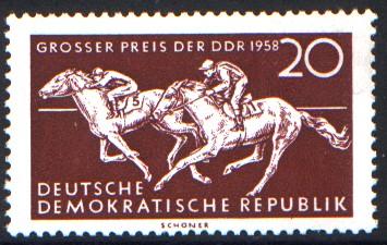 20 Pf Briefmarke: Pferdesport, Großer Preis der DDR 1958