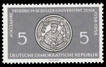 5 Pf Briefmarke: 400 Jahre Friedrich-Schiller-Universität Jena