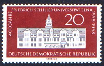20 Pf Briefmarke: 400 Jahre Friedrich-Schiller-Universität Jena
