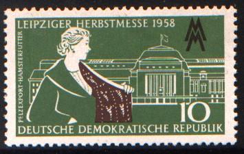 10 Pf Briefmarke: Leipziger Herbstmesse 1958