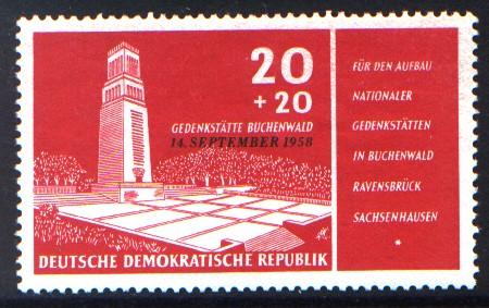 20 + 20 Pf Briefmarke: Einweihung des Buchenwald-Denkmals