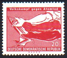 20 Pf Briefmarke: Volkskampf gegen Atomtod