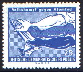 25 Pf Briefmarke: Volkskampf gegen Atomtod
