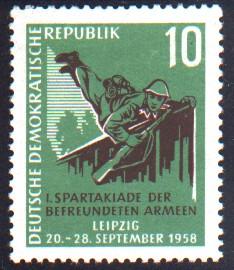 10 Pf Briefmarke: 1. Spartakiade der befreundeten Armeen