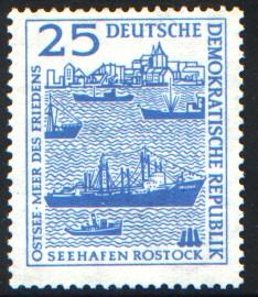 25 Pf Briefmarke: Seehafen Rostock