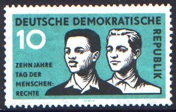 10 Pf Briefmarke: Zehn Jahre Tag der Menschenrechte