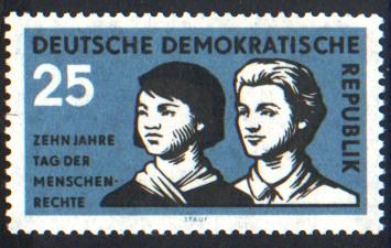 25 Pf Briefmarke: Zehn Jahre Tag der Menschenrechte