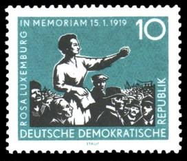 10 Pf Briefmarke: 40. Jahrestag der Ermordung von Karl Liebknecht und Rosa Luxemburg