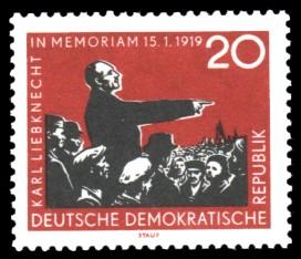20 Pf Briefmarke: 40. Jahrestag der Ermordung von Karl Liebknecht und Rosa Luxemburg