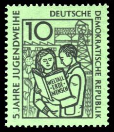 10 Pf Briefmarke: 5 Jahre Jugendweihe