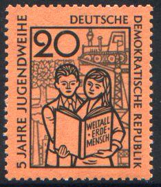 20 Pf Briefmarke: 5 Jahre Jugendweihe