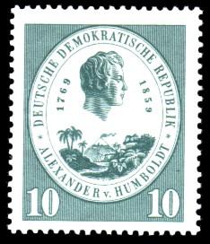 10 Pf Briefmarke: 100. Todestag Alexander von Humboldt