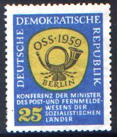 25 Pf Briefmarke: Konferenz der Minister des Post- und Fernmeldewesens der sozialistischen Länder