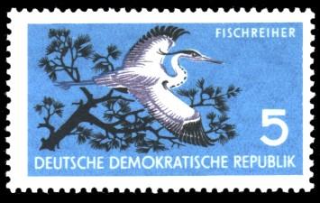 5 Pf Briefmarke: Naturschutz, Fischreiher