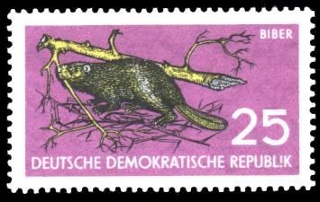 25 Pf Briefmarke: Naturschutz, Biber