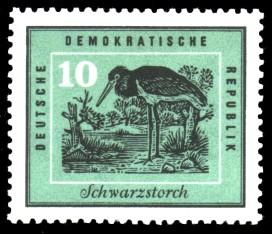 10 Pf Briefmarke: Heimische Vögel, Schwarzstorch