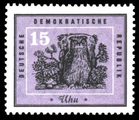 15 Pf Briefmarke: Heimische Vögel, Uhu