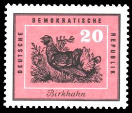 20 Pf Briefmarke: Heimische Vögel, Birkhahn