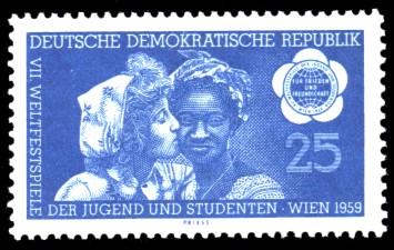 25 Pf Briefmarke: VII. Weltfestspiele der Jugend und Studenten in Wien 1959