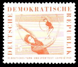 5 + 5 Pf Briefmarke: 3. Deutsches Turn- und Sportfest, Leipzig 1959