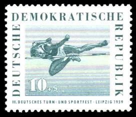 10 + 5 Pf Briefmarke: 3. Deutsches Turn- und Sportfest, Leipzig 1959