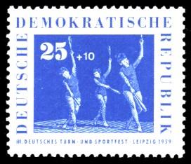 25 + 10 Pf Briefmarke: 3. Deutsches Turn- und Sportfest, Leipzig 1959