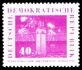 40 + 20 Pf Briefmarke: 3. Deutsches Turn- und Sportfest, Leipzig 1959