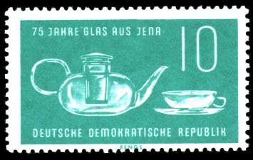 10 Pf Briefmarke: 75 Jahre Glas aus Jena