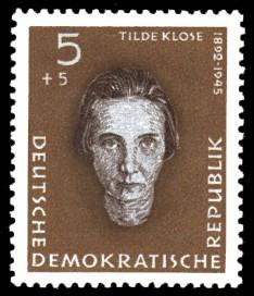 5 + 5 Pf Briefmarke: Antifaschisten, Tilde Klose