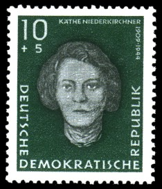 10 + 5 Pf Briefmarke: Antifaschisten, Käthe Niederkirchner