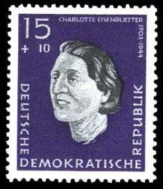 15 + 10 Pf Briefmarke: Antifaschisten, Charlotte Eisenblätter