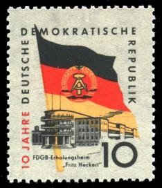 10 Pf Briefmarke: 10 Jahre DDR