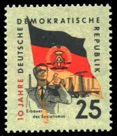 25 Pf Briefmarke: 10 Jahre DDR