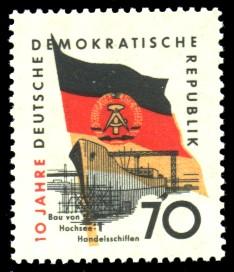 70 Pf Briefmarke: 10 Jahre DDR