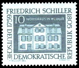 10 Pf Briefmarke: 200. Geburtstag Friedrich Schiller