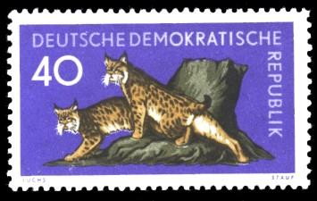 40 Pf Briefmarke: Waldtiere, Luchs