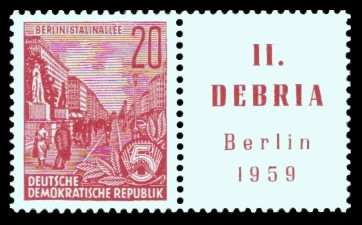 20 Pf Briefmarke: Freimarke Fünfjahresplan - Briefmarkenausstellung DEBRIA