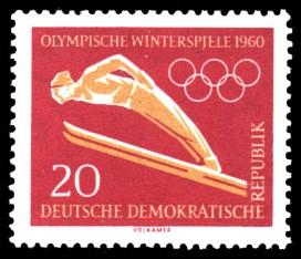 20 Pf Briefmarke: Olympische Winterspiele 1960, Ski