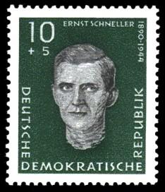 10 + 5 Pf Briefmarke: Antifaschisten, Ernst Schneller