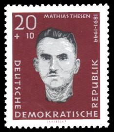20 + 10 Pf Briefmarke: Antifaschisten, Mathias Thesen