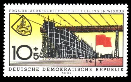 10 + 5 Pf Briefmarke: FDGB-Urlauberschiff MS Fritz Heckert
