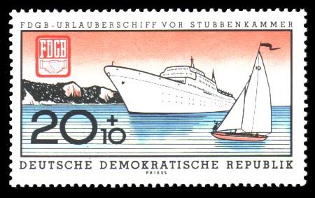20 + 10 Pf Briefmarke: FDGB-Urlauberschiff MS Fritz Heckert