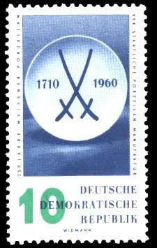 10 Pf Briefmarke: 250 Jahre Meissner Porzellan