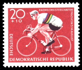 20 + 10 Pf Briefmarke: Radweltmeisterschaften